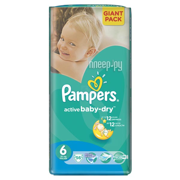 Подгузники Pampers Active Baby-Dry Размер 6 (Extra large) 15+ кг, 56 шт (4015400736424)