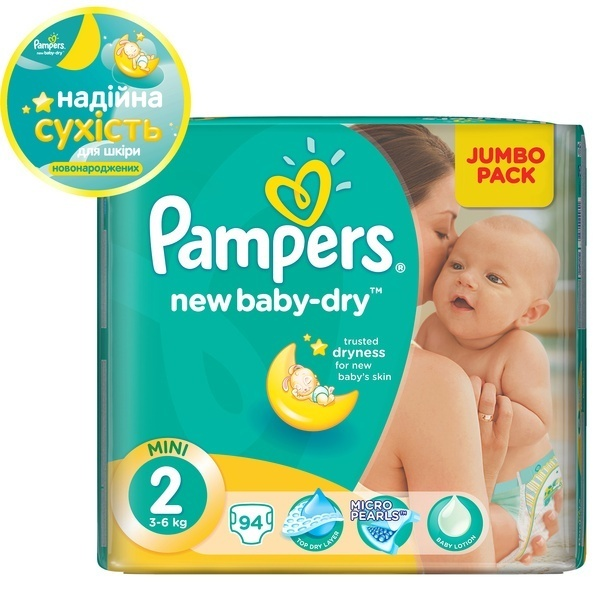 Подгузники Pampers New Baby-Dry Размер 2 (Mini) 3-6 кг, 94 шт (4015400264613)