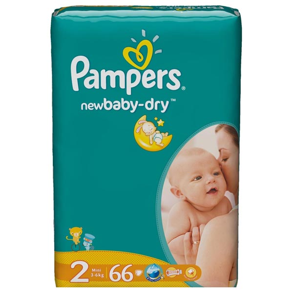 Подгузники Pampers New Baby-Dry Размер 2 (Mini) 3-6 кг, 66 шт (4015400649649)