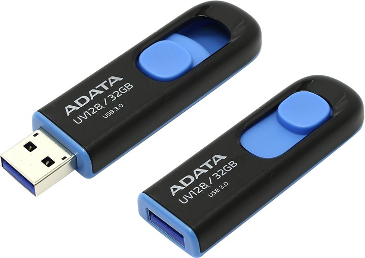 Флеш-память A-Data 32 GB UV128 - Black/Blue (AUV128-32G-RBE)