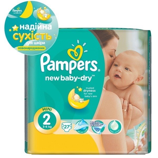Подгузники Pampers New Baby-Dry Размер 2 (Mini) 3-6 кг, 27 шт (4015400537397)