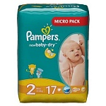 Подгузники Pampers New Baby-Dry Размер 2 (Mini) 3-6 кг,  17 шт (4015400647515)