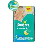 Подгузники Pampers Active Baby-Dry Размер 6 (Extra large) 15+ кг 54 шт (4015400244875)
