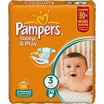 Подгузники Pampers Sleep & Play Размер 3 (Midi) 5-9 кг, 78  шт (4015400203520)